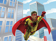Building Block Mixed Media Prints - Superhero flying through city Print by Christos Georghiou