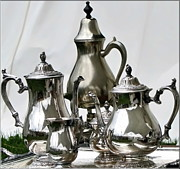 Coffeepot Posters - Superior Officers Silverware And Tea Service From  The Stoney Creek War Of  1812 Poster by Danielle  Parent