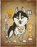 Husky Drawings Prints - Superior Siberian Husky Print by Canine Caricatures By John LaFree