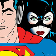 Pop Prints - Superman And Catwoman  Print by Mark Ashkenazi