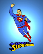 Curt Prints - Superman Classic Print by Mista Perez Cartoon Art