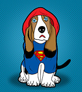 Caricature Framed Prints - Superman Dog  Framed Print by Mark Ashkenazi