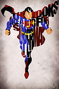 Mixed Media Tapestries Textiles - Superman - Man of Steel by Ayse T Werner