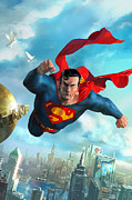 Dc Comics Prints - Superman Over Metropolis Print by Ryan Barger