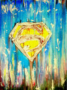 Superman Mixed Media Prints - Supermans Sheild Print by Justin Moore