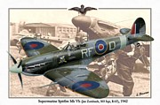 Dogfight Mixed Media - Supermarine Spitfire Mk Vb - Jan Zumbach by A Hermann