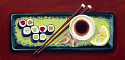 Dinner Paintings - Supermarket Sushi by Laura Dozor