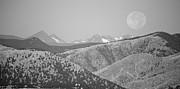 James BO  Insogna - Supermoon Over Colorado Rocky Mountains BW Panorama