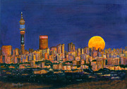 Highrise Painting Posters - Supermoon over Johannesburg Poster by Ursula Reeb