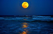 Supermoon Photos - Supermoon Rising on Navarre Beach 20120505C by Jeff at JSJ Photography
