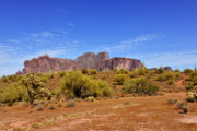 Sonoran Indian Posters - Superstition Mountains Arizona - Flat Iron Peak Poster by Christine Till