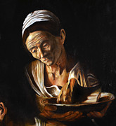 Emmaus Paintings - Supper in Emmaus after Caravaggio detail old woman by Massimo Tizzano