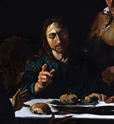 Emmaus Paintings - Supper in Emmaus detail by Massimo Tizzano