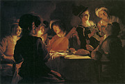 Dinner Paintings - Supper Party with Lute Player by Gerrit van Honthorst