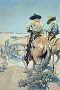 Blue Tail Framed Prints - Supply Wagons Framed Print by Newell Convers Wyeth