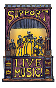 Live Music Mixed Media Posters - Support Live Music Poster by Ricardo Levins Morales