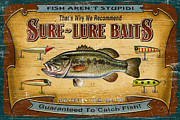 Largemouth Prints - Sure Lure Baits Print by JQ Licensing
