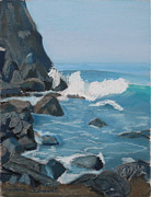 San Francisco Pastels - Surf at Goat Rock near San Francisco by Dana Schmidt