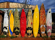 Surf Board Fence Maui Hawaii Print by Edward Fielding