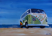 Bulli Paintings - Surf Bus Series - California Dreaming VW Bus by M Bleichner