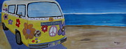 Bulli Paintings - Surf Bus Series - The Lady Flower Power Peace Bus by M Bleichner