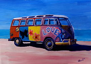 Bulli Paintings - Surf Bus Series - The Love VW Bus by M Bleichner