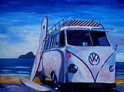 Bulli Paintings - Surf Bus Series - The White Volkswagen by M Bleichner