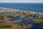 Surf City Posters - Surf City North Carolina Aerial Poster by East Coast Barrier Islands Betsy A Cutler