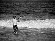 Young Man Photo Prints - Surf Fishing Print by Mark Miller