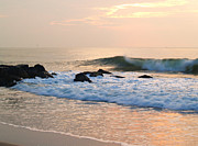 Atlantic Beaches Framed Prints - Surf in Peachy Ocean Grove Sunrise Framed Print by Anna Lisa Yoder
