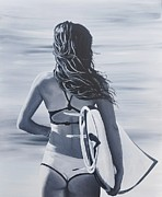 Surfer Girl Paintings - Surf Lessons by Jessi Smith