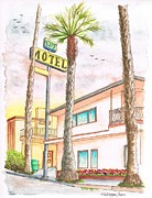 Motel Painting Prints - Surf Motel in Pismo Beach-CA Print by Carlos G Groppa