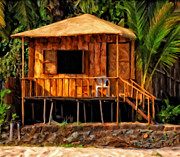 Coconut Palms Prints - Surf Shack Print by Michael Pickett