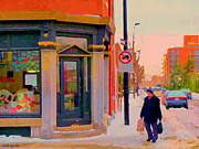Verdun Montreal Winter Street Scenes Montreal Art Carole Spandau Paintings - Surface Jalouse Design Boutique Notre Dame West Montreal Winter City Scene Carole Spandau by Carole Spandau