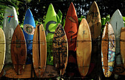 Waves Posters - Surfboard Fence 4 Poster by Bob Christopher