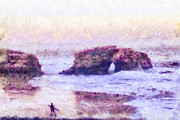 Surf Silhouette Mixed Media Prints - Surfer At Natural Bridges State Beach Print by Priya Ghose