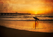 Tropical Oceans Framed Prints - Surfer at Sunrise Framed Print by Debra and Dave Vanderlaan
