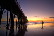 Oceanside Pier Posters - Surfer at Sunset Poster by Peter Tellone