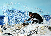 Norfolk; Painting Prints - Surfer Print by Betty-Anne McDonald