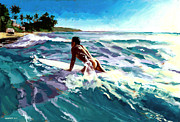 Seashore Painting Framed Prints - Surfer Coming In Framed Print by Douglas Simonson