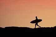 Surf Silhouette Metal Prints - Surfer Crossing Metal Print by Paul Topp