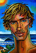 Tan Painting Framed Prints - Surfer Dude Framed Print by Douglas Simonson