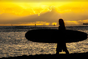 Surf Silhouette Metal Prints - Surfer Dude Metal Print by Juli Scalzi