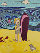Seagull Drawings Metal Prints - Surfer Girl Metal Print by Alexandra Benson