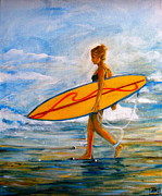 Surfer Girl Paintings - Surfer Girl by Andrea Merican