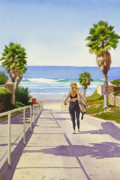 Palm Trees Paintings - Surfer Girl at Fletcher Cove by Mary Helmreich