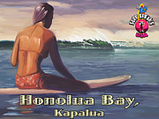 Surfer Girl Paintings - Surfer Girl Honolua Bay by Tim Gilliland