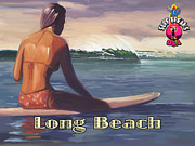 Surfer Girl Paintings - Surfer Girl Long Beach by Tim Gilliland