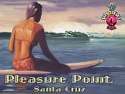 Surfing In Santa Cruz Posters - Surfer Girl Pleasure Point Poster by Tim Gilliland