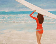 Surfer Girl Paintings - Surfer Girl by Sonja Austell